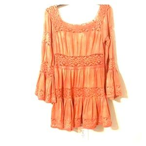 Free People Rust Coral Boho Dress Size 12